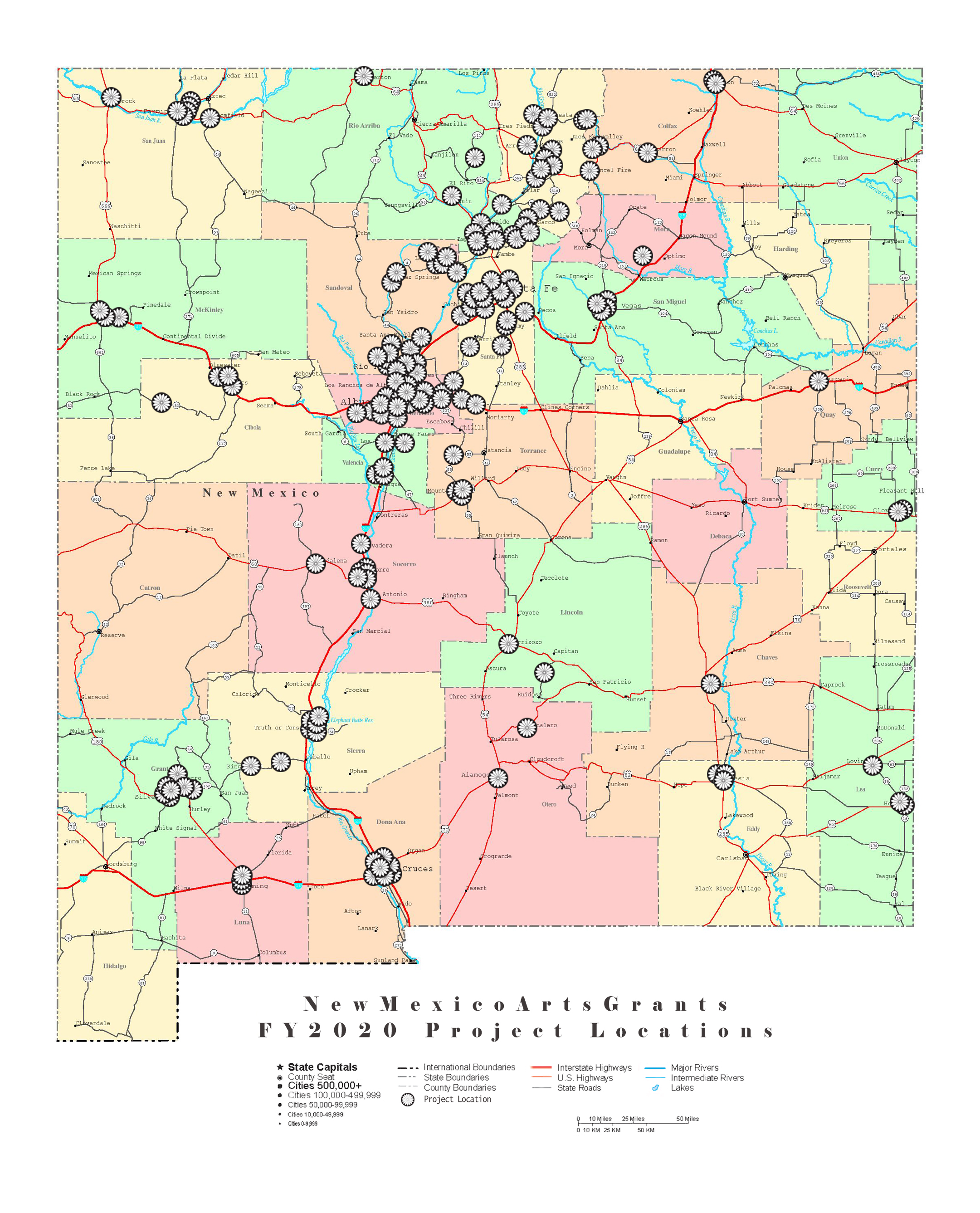 Project Location map of grantee projects across New Mexico for FY20